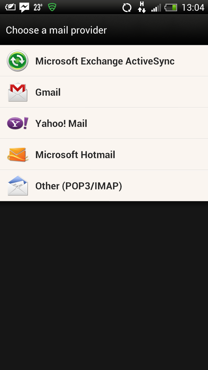 Android email account step 1